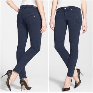 Paige Marley Skinny Jeans/Twill Moto Pant Azure 26